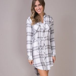 Rails Blair Black and White Plaid Shirt Dress L